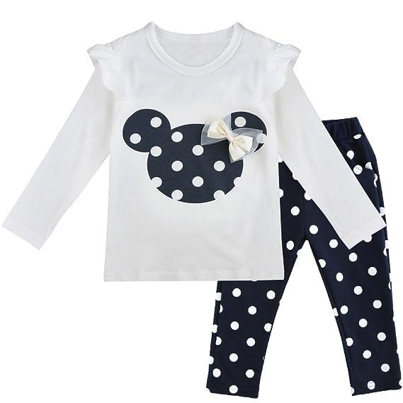 2f806b9a94b712 Tiaobug Babykleidung Baby - Mädchen Bekleidung im Set mit Langarmshirt Top  und Hose Polka Dots Muster