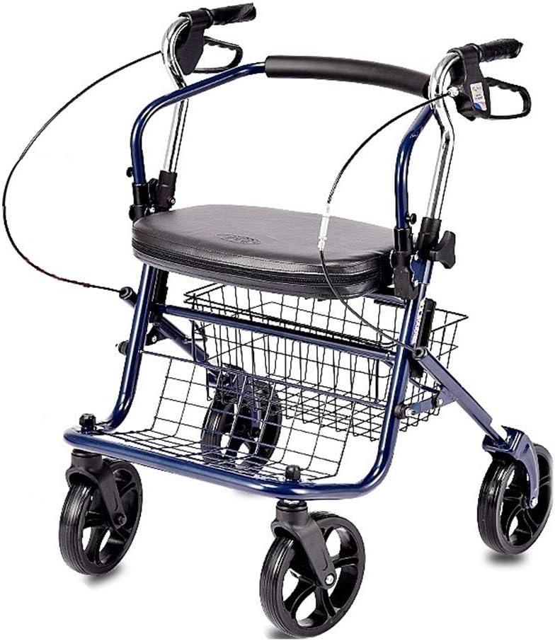 PNYGJZXQ Carrito de Compras Plegable Walker Roller Walker for el Anciano Andador con Ruedas Ayudante for Caminar con Respaldo y Pedal Equipado con Freno de Dos Manos y Cesta de la Compra