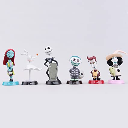 Amazon.com: The Nightmare Before Christmas Jack Zero Sally 6 PCS PVC Action Figure Gift Toys: Toys & Games