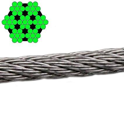 1 Metros de alambre cuerda 7 x 7 mittelweich - 4,0 mm Acero ...