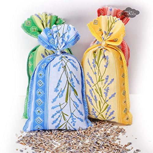 French Lavender in Provence Fabric Sachets (set of 4) (French Provence Fabric)