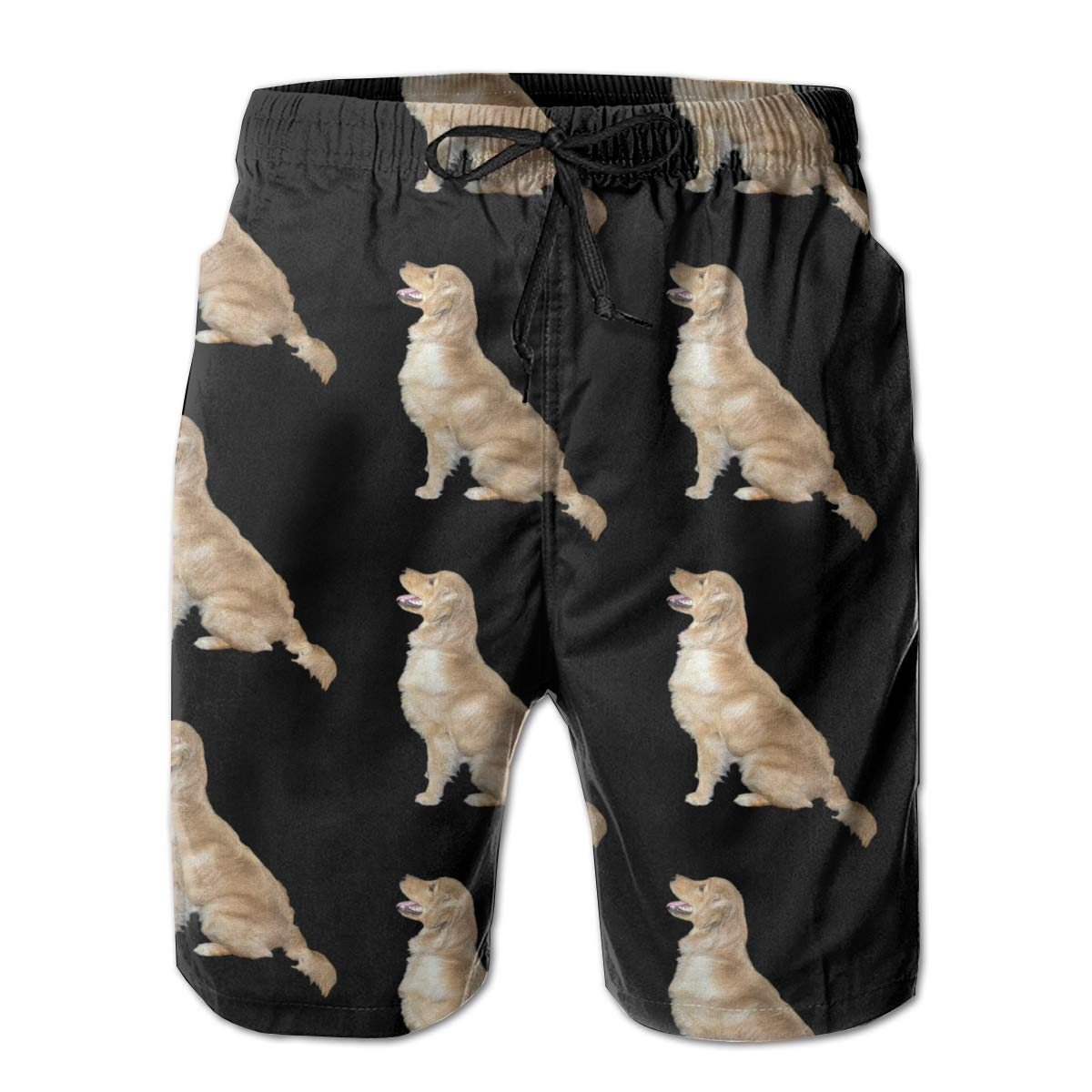 MIPU SHANGMAO Mens Golden Retriever Dogs Summer Beach Shorts Leisure Quick Dry Swimming Pants