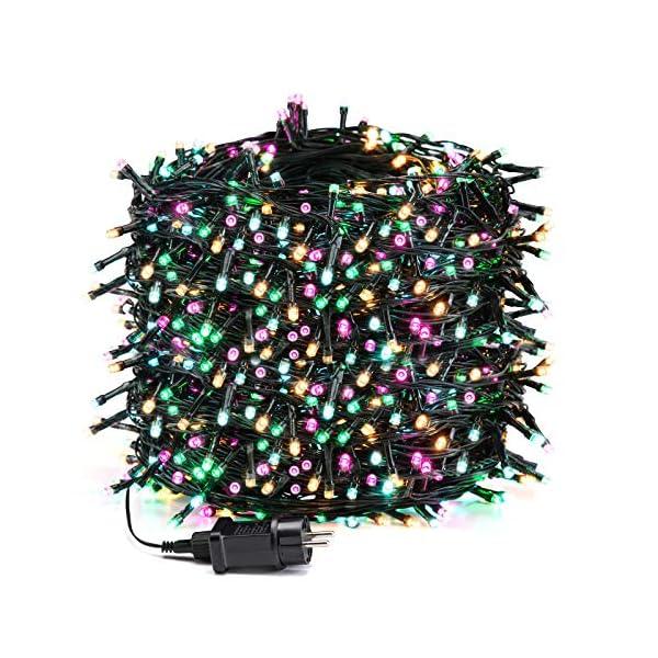 Avoalre Catena Luminosa 1000 LEDs 100M Luci Natale 8 Modalità 4 Colori Stringa Luci Interno/Esterno Impermeabile Luci Decorative per Atmosfera Romantica Festa Nozze Compleanno, Rosa/Giallo/Blu/Verde 1 spesavip