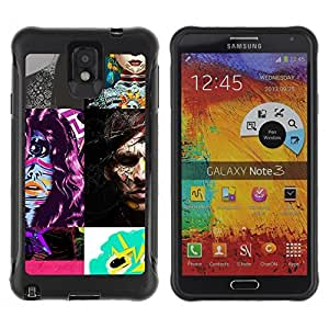 Hybrid Anti-Shock Defend Case for Samsung Galaxy Note 3 / Abstract Picture