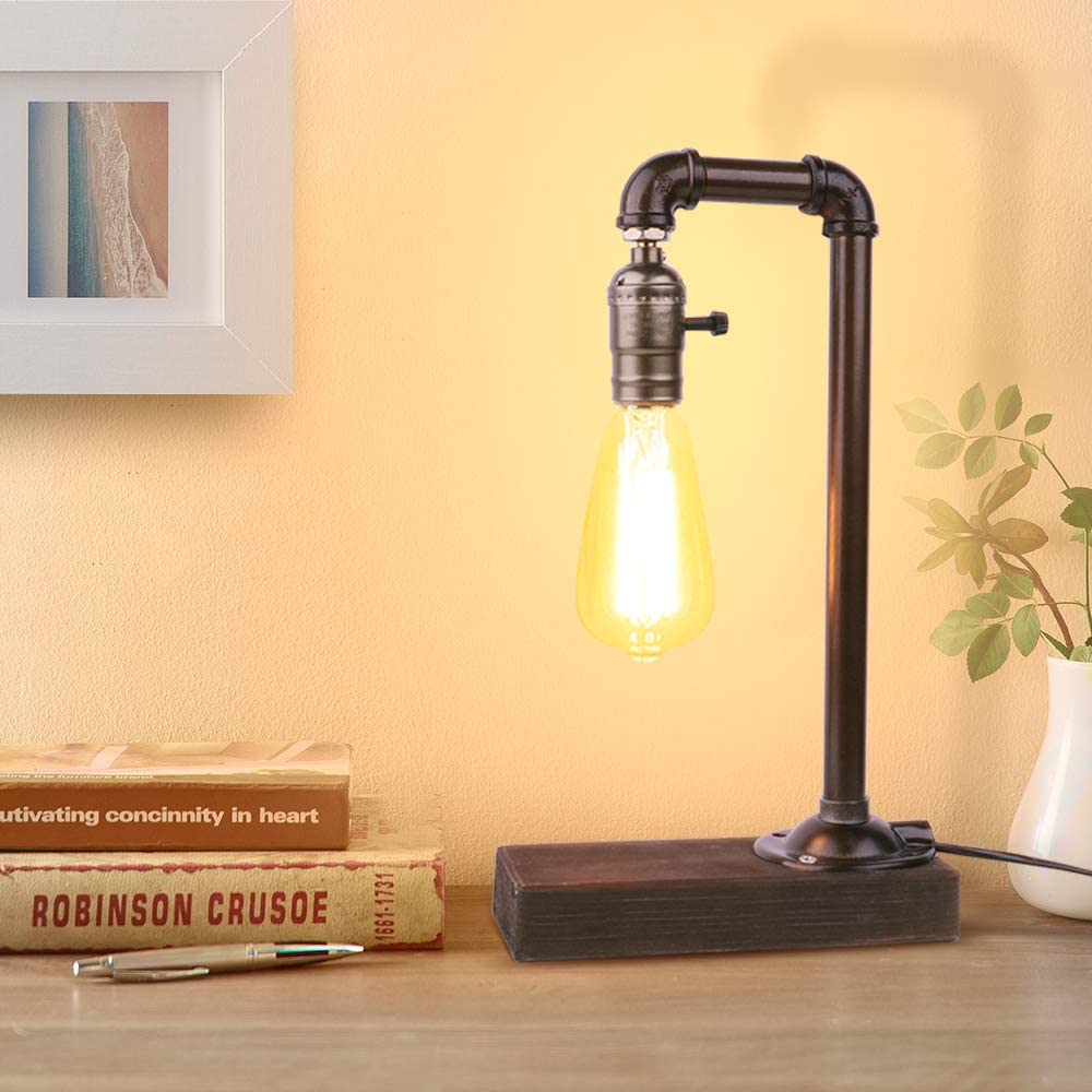 Industrial Table Lamp, Edison Desk Lamp with Wood Base, Vintage Steampunk Rustic Pipe Lamp for Bedside, Dresser, Coffee Table in Bedroom Living Room Farmhouse