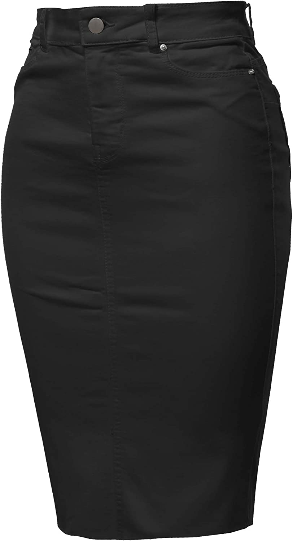 A2Y Women's Slim Fit Rayon Knee Length Unhem Back Slit Denim Jean Pencil Skirt at  Women's Clothing store