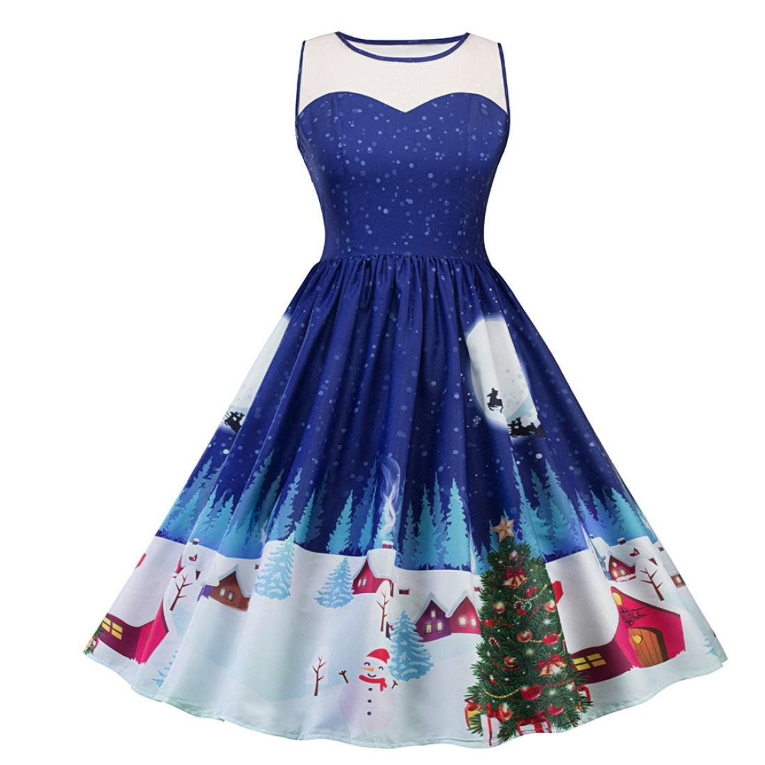 Women Dress, Gillberry Women's Vintage Christmas O-Neck Printed Party Retro A-Line Swing Dress (S, Multicolor)