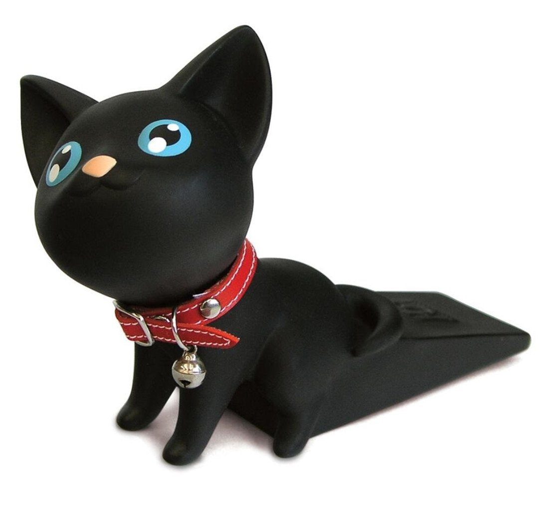 Cute Cat Dog Door Stopper Wedge Non-slip Non-scratching Baby Child Safety doorstop works on all floor surfaces (Black Cat)