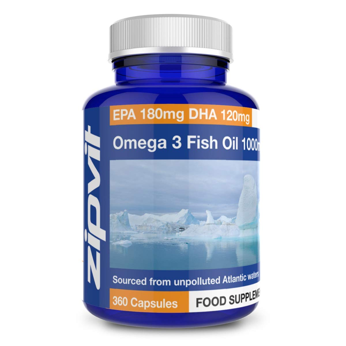 Omega 3 Fish Oil 1000mg, 360 Softgel Capsules. 12 Months Supply. EPA 180mg DHA 120mg. Supports Heart, Brain Function and Eye Health.