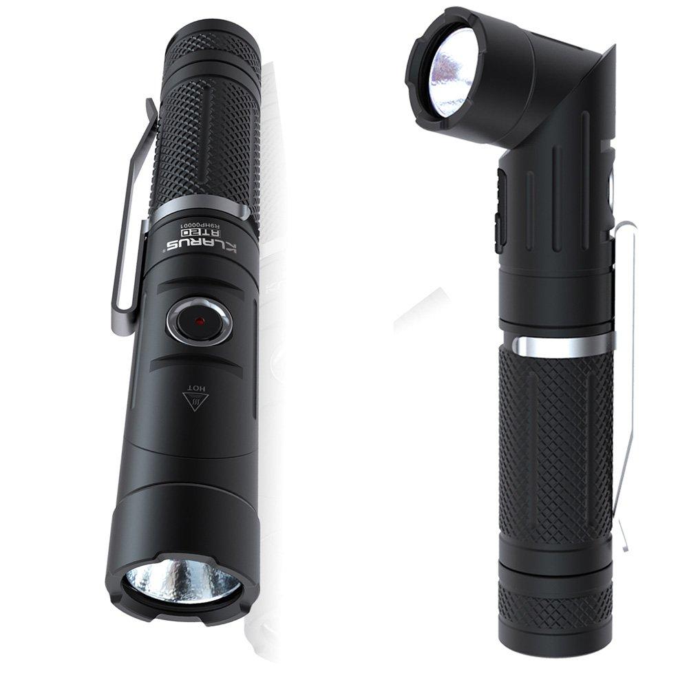 KLARUS RT20 懐中電灯 フラッシュライト CREE XM-L2U2 LED Max1050 ルーメン ライト先端部90°回転可能 防水IPX8 USB充電式 18650電池×1 6モード SOS機能付き ブラック