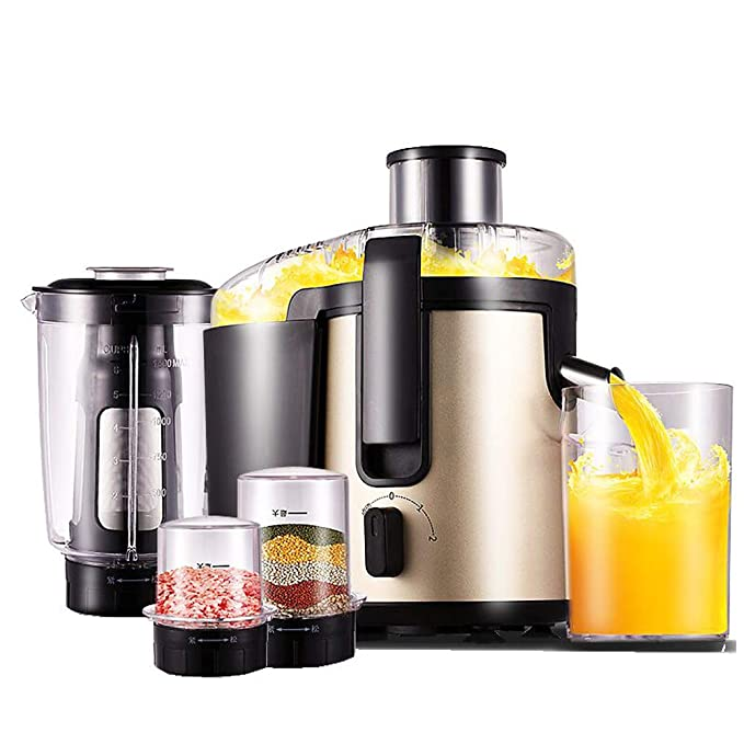 SELCNG Juicer, Slow Chewing Juicer, 3-in-1 Cold Press Juicer, Suitable for Fruits, Vegetables, Baby Food and Smoothies, Extremely Quiet Juicer, Easy To Clean, with Reverse Function and Non-slip Feet