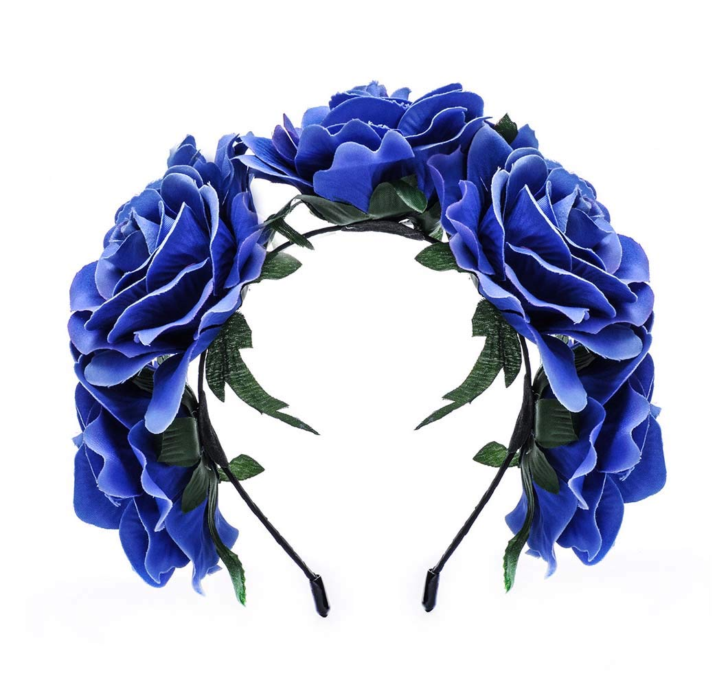 Love Fairy Vintage Rose Flower Headband Crown Hair Garland for Travel Wedding Party Festivals (Royal Blue) by Lovefairy (Image #1)