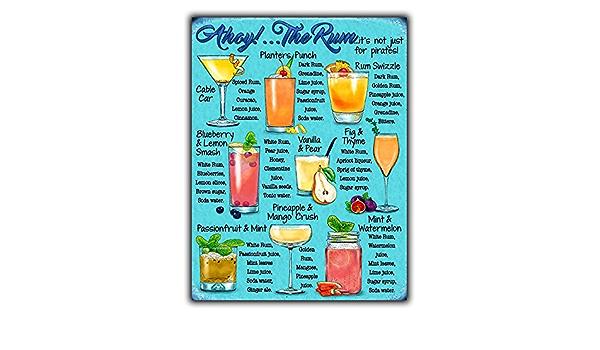 Laptopo Plaque en m/étal Style r/étro avec Inscription /« Rum Cocktails Menu Recette /»
