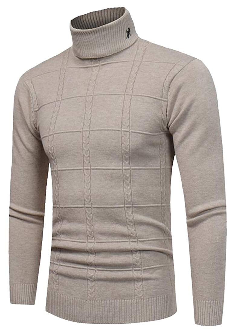 GAGA Mens Ribbed Long Sleeve Slim Fit Knitted Pullover Turtleneck Sweater