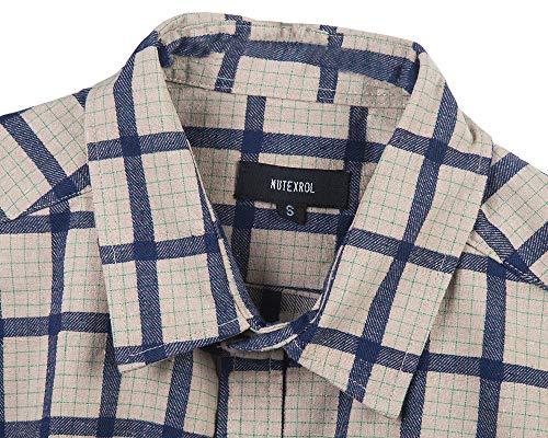 Men Plaid Cotton Casual Short Sleeve Button Down Dress Shirts Beige