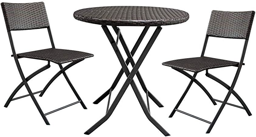 NOBLJX Mesa Redonda de ratán Plegable y 2 sillas, Juego de jardín y Patio, Resistente a Todas Las Condiciones climáticas, Marco de Mimbre de Resina y Hierro para balcón al Aire Libre: