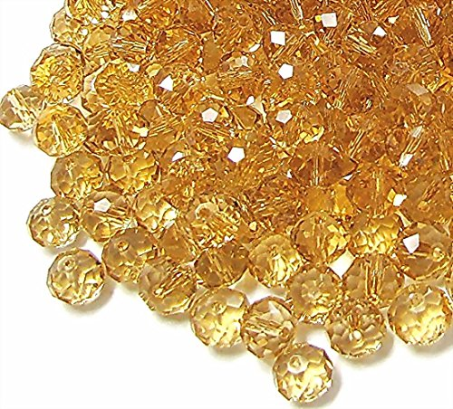 Linpeng 6mm Faceted Rondelle Citrine (300pcs) Crystal Glass Beads,