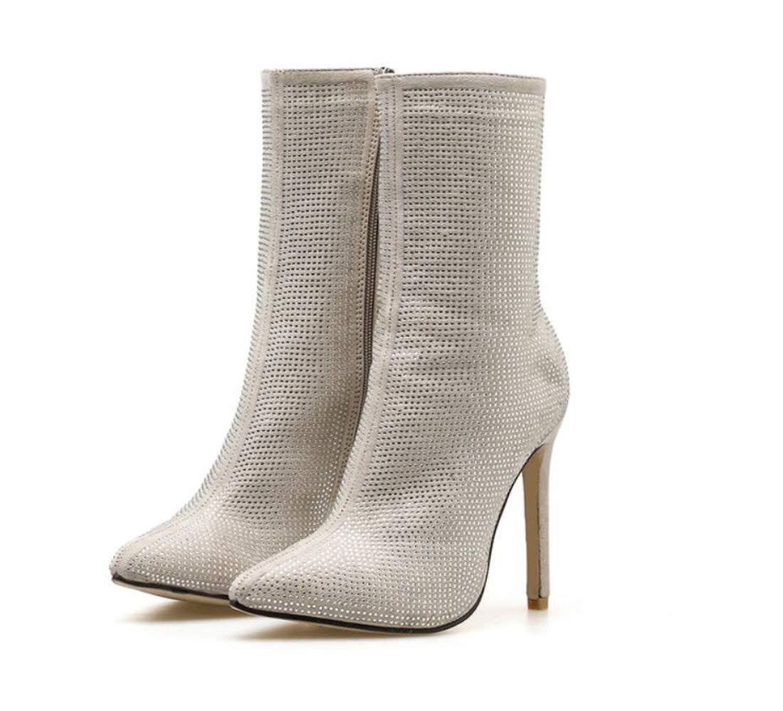 DANDANJIE Damenstiefel Damenstiefel Damenstiefel Spitzen Zehen Rhinestone High Heel Nackte Stiefelmode Sexy Stiefelies baf884