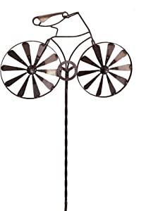 California Home and Garden CH791 Metal Bike Wind Spinner, 72 Inch Tall, Rustic Look Artwork, Brownish Red