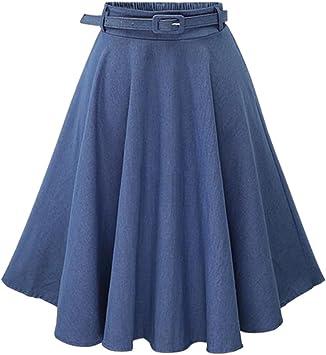 Moollyfox Mujer Faldas Vaquera Cintura Alta Falda Plisada Corto ...