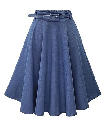 065f38da12ae Moollyfox Femme Jupe Jean Rétro Élégante Jupe Mi Longue Évasée Plissée Jupe  Bleu Clair Freesize  Amazon.fr  Vêtements et accessoires