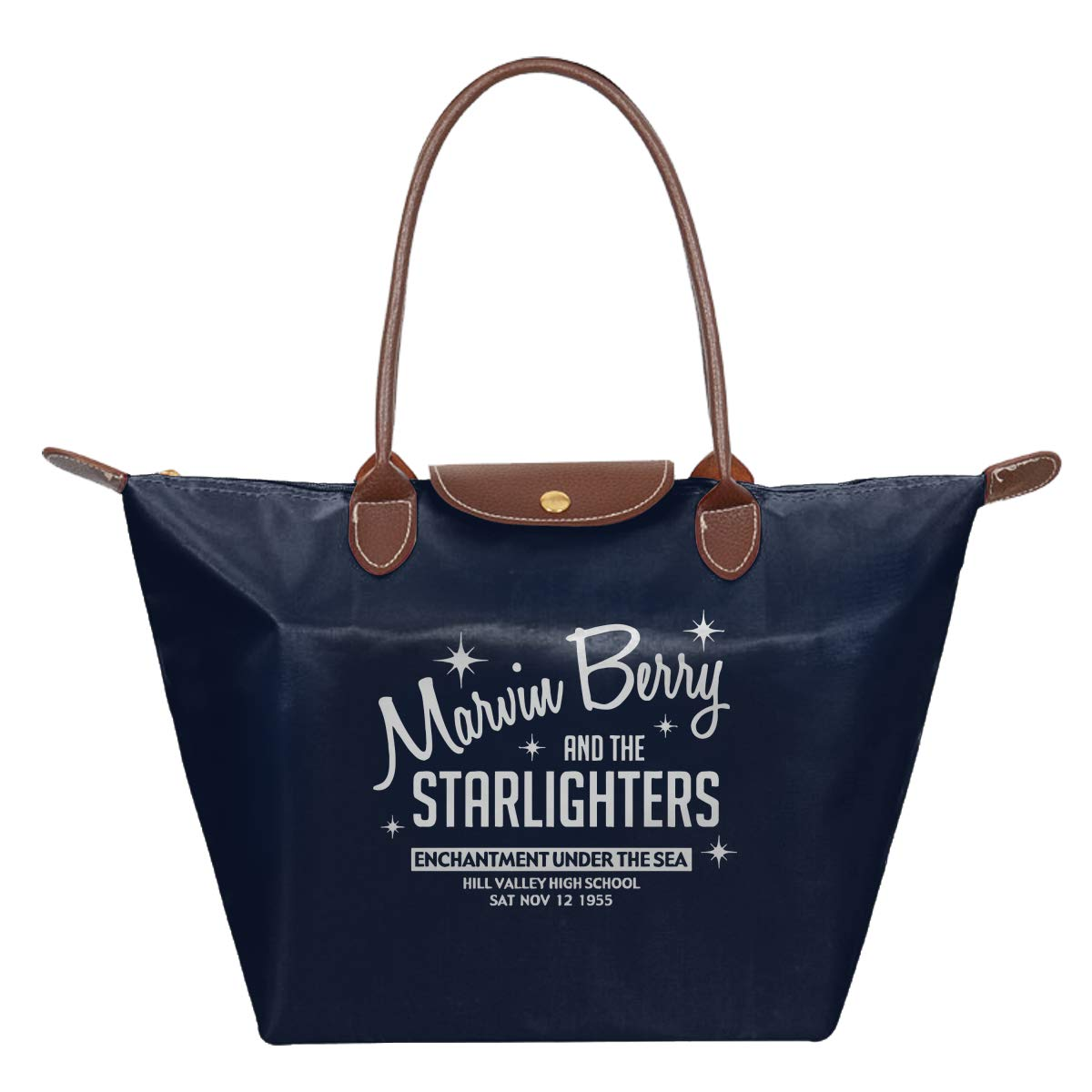 Marvin Berry And The Starlighters Inspired By Back To The Future Waterproof Leather Folded Messenger Nylon Bag Travel Tote Hopping Folding School Handbags