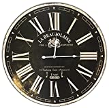 Cheap Round Black Vintage La Beaujolaise Decorative Wall Clock With Big Roman Numerals And Distressed face 23 x 23 inches Quartz movement..0098