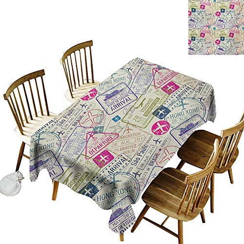 Kitchen Rectangular Tablecloth W54 x L72 Travel Passport and Visa Stamps Illustration of Toronto Hong Kong Berlin Print Egg Shell and Pink Suitable for Home Coffee Bar Party Wedding & More -
