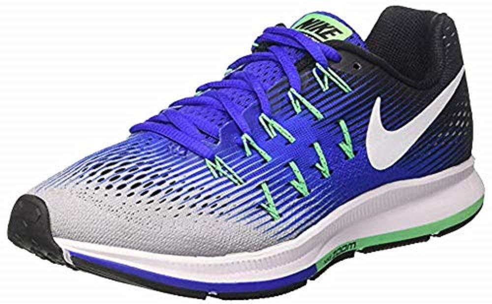 newest 3ef54 ad648 Nike Mens Air Zoom Pegasus 33 Shield Running Shoe (13, Black/Metallic  Silver-blue Glow-volt)