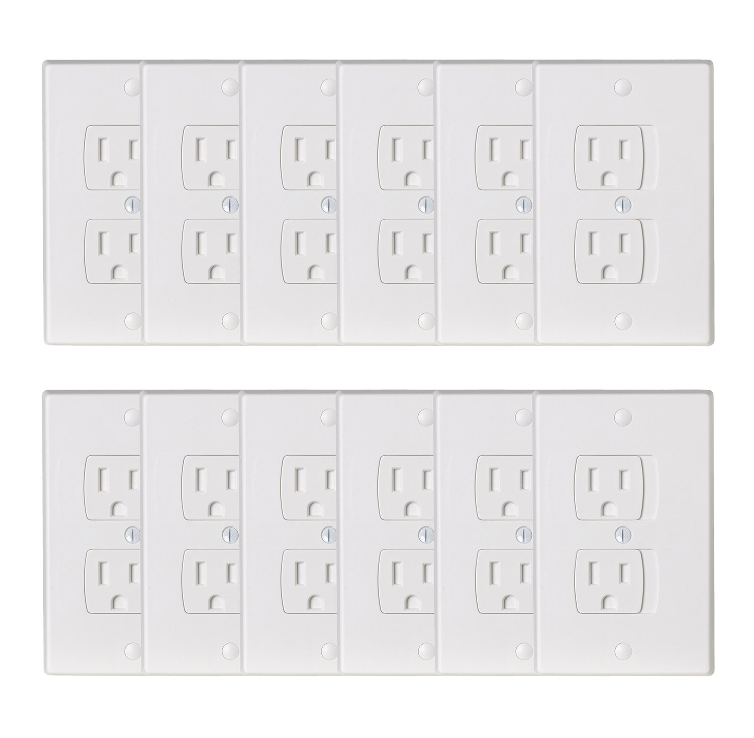 BUENAVO Universal Electrical Outlet Covers, Baby Safety Self-Closing Wall Socket Plugs Plate Alternate for Child Proofing, BPA Free (White-12 Pack) by BUENAVO