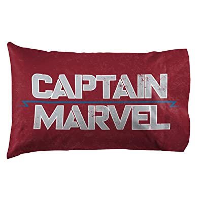 Jay Franco Captain Marvel Taking Off Pillowcase, Red: Home & Kitchen