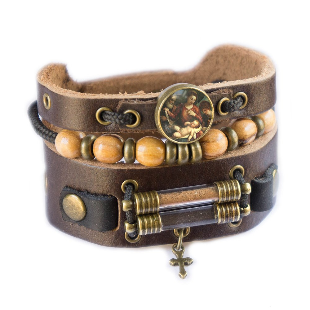 Holy Family Bracelet with Olive Wood Beads, Jordan River Holy Water and Jerusalem Earth (Women size: 6.5 - 7.5 Inches) by Rani Shoket