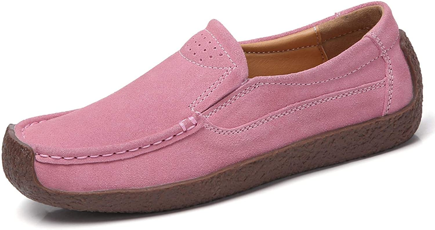 Women Moccasins Womens Flats Genuine Leather Shoes Woman Lady Loafers Slip On Suede Shoes,02 Pink,8