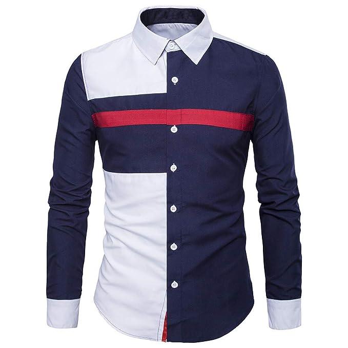 d014c50bac0 Bestow Hombres de Manga Larga de Oxford Trajes Formales Camisas de Vestir  Blusa de Moda Casual Costura de la Camisa de Invierno  Amazon.es  Ropa y ...