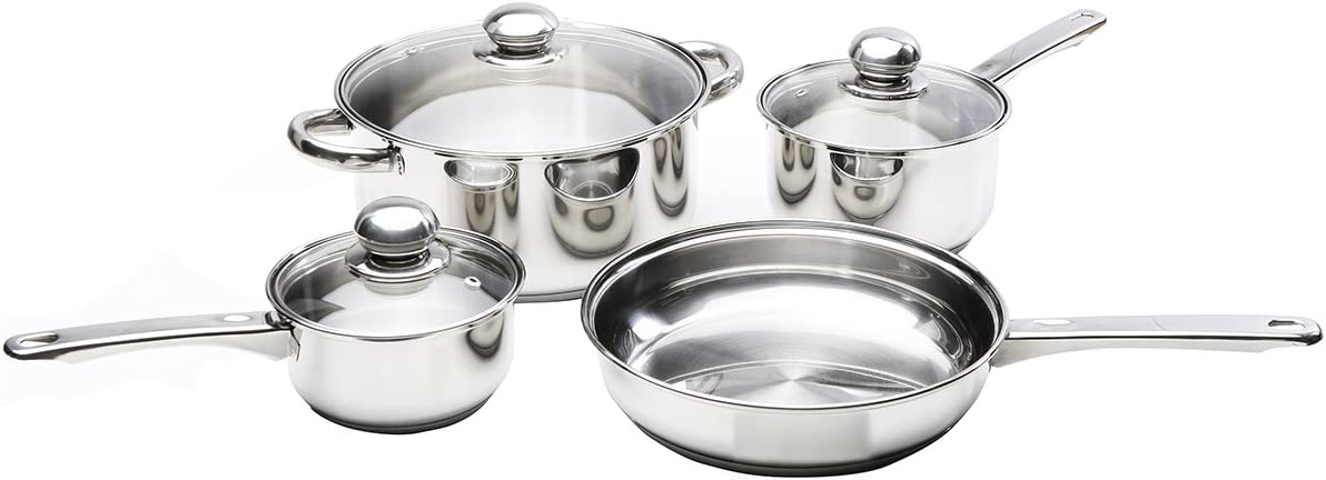Kinetic 29101 Classicor Series Stainless Steel 1-Quart Saucepan with Glass Lid and Tri-Ply Bottom
