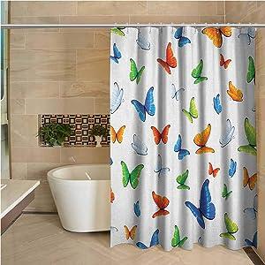 "Butterflies Waterproof Fabric Shower Curtain Butterflies Animal Clipart Ecology Environment Joyful Design Cartoon Tropics Bathroom Decoration 63""x72"",Multicolor"