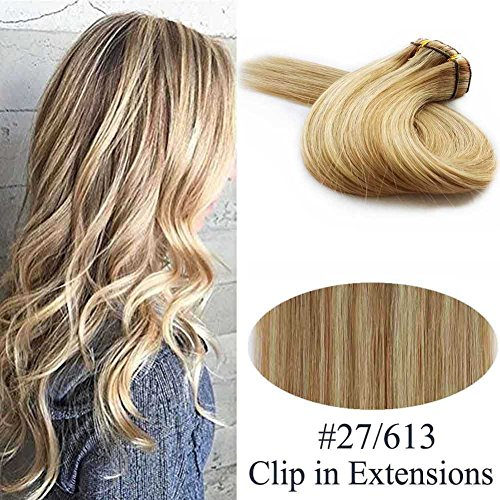 Showjarlly Ombre Balayage Clip in Virgin Remy Human Hair Extensions, #27/613 Strawberry Blonde Highlighted with Light Blonde Thick Full Head Clip on Hair Extensions Double Wefts (20inch,8Pcs/100g) (Remy Hair Thick Extensions)