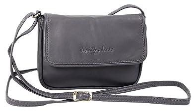 d8131a06e4096 Jennifer Jones Taschen Damen 100% Leder Damentasche Handtasche  Schultertasche Umhängetasche Tasche klein Crossbody Bag grau