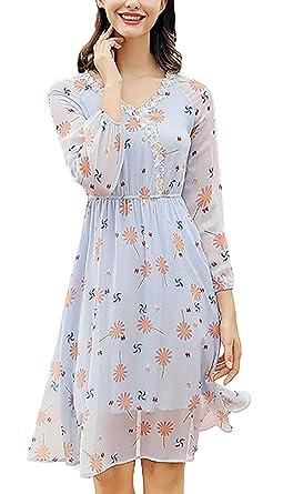 Vestido Gasa Mujer Largos Otoño Manga Larga Florales V