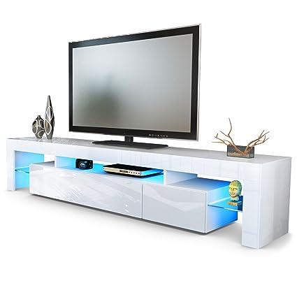 TV Schrank Lowboard Fernsehschrank Fernsehtisch Wohnzimmer Lima V2 in Weiß  / Weiß Hochglanz