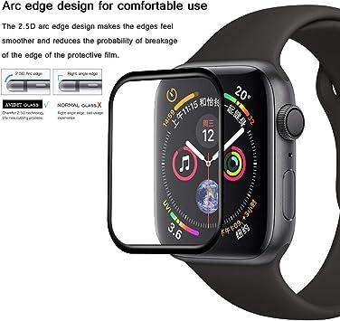 Apple Watch Series 4 44MM Protector de Pantalla, AVIDET Full Screen Coverage, Protector de Pantalla de Vidrio 3D Templado Superior para Apple Watch