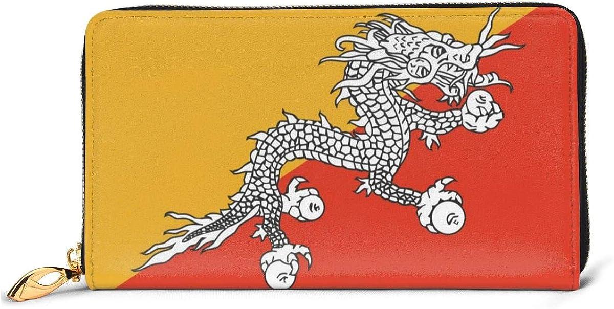 Bhutan Flag Wallets For Men Women Long Leather Checkbook Card Holder Purse Zipper Buckle Elegant Clutch Ladies Coin Purse