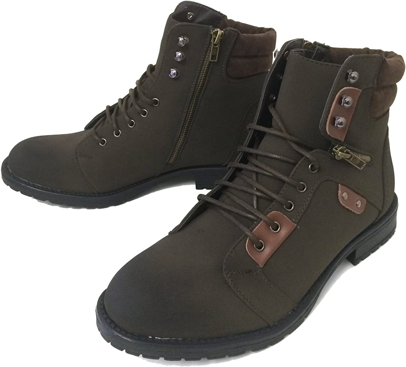 Men/'s faux Leather Warm Work Boots military zip Combat Boot Lace Up Shoes