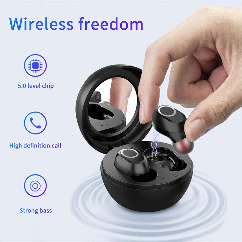 Yukuai Wireless Earbuds Bluetooth 5.0 Headphones, Earbuds TWS 3D Stereo Sound Sports Waterproof Noise Cancelling Stereo Car Earphone Headset with 350mAh Charging Box Makeup Mirror (Black)