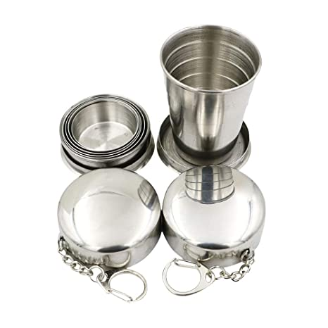 JUJOR 2 pcs Collapsible Shot Glass Stainless Steel 2 oz. with Keychain