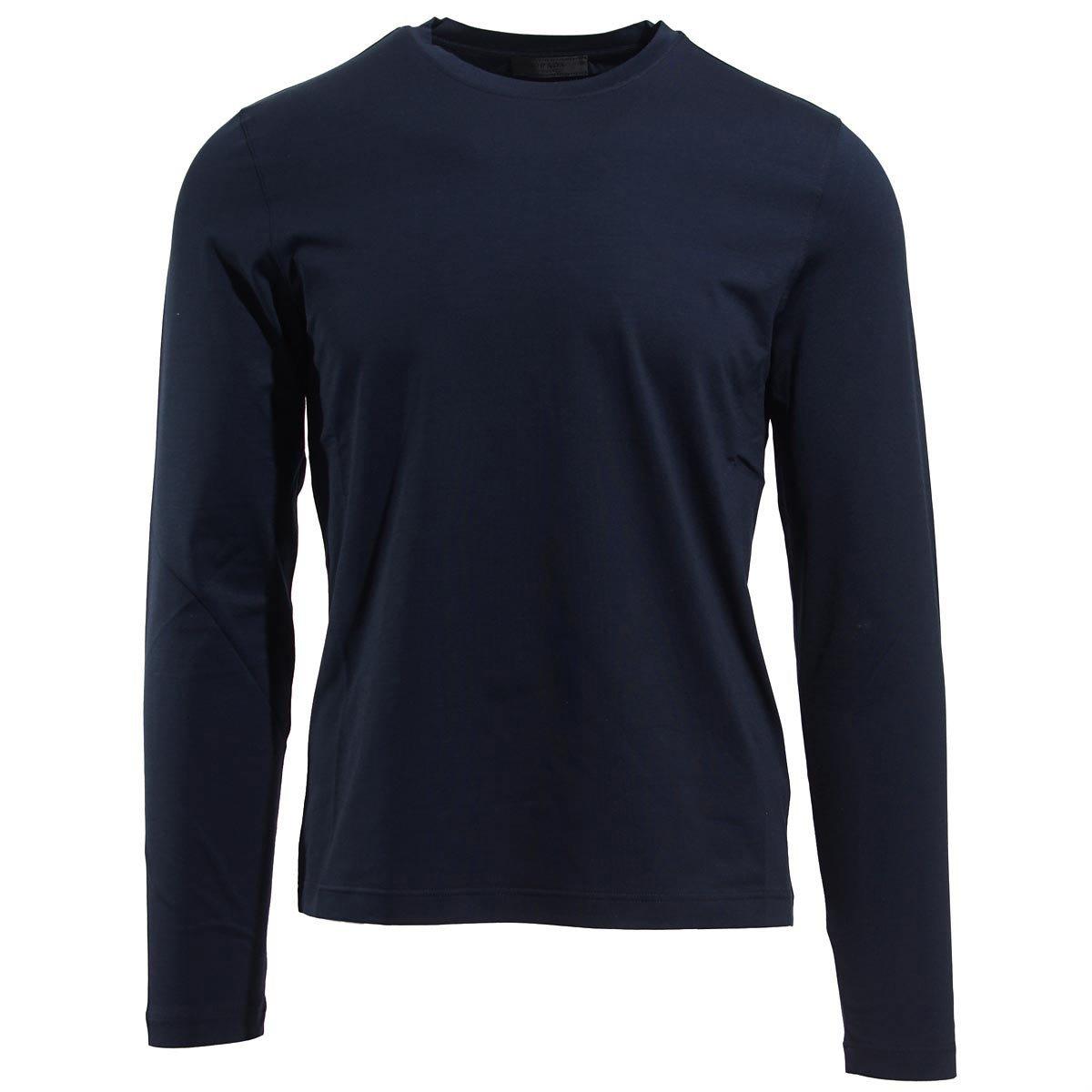 (プラダ) PRADA クルーネック 長袖Tシャツ [並行輸入品] B07F6WTR6S XL ネイビー ネイビー XL