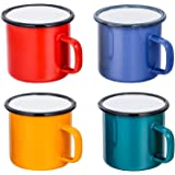 BSUDILOK Enamel Coffee Cup 12 Oz Tea Cup, Healthy And Bright Color, Heat-Resistant Camping Style Decorative Wine Glasses (Pac