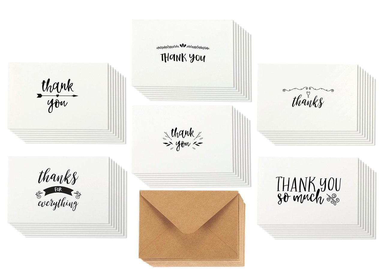 Thank You Cards - 36-Count Thank You Notes, Kraft Paper Bulk Thank You Cards Set - Blank on the Inside, Handwritten Style – Includes Thank You Cards and Envelopes, 4 x 6 Inches