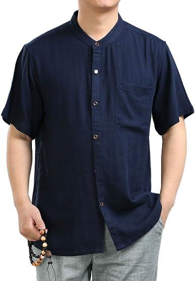 Camisas para Hombres Camisas Informales De Verano Camisas para Líderes De Viento De China Camisa De Punto, Blue-M: Amazon.es: Ropa y accesorios