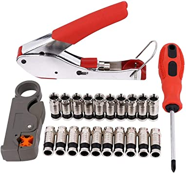F Head Press Plier Crimping Pliers Coaxial Cable Crimper Tool Alicate Stripping